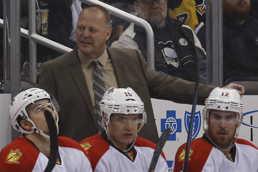 Florida Panthers head coach Gerard Gallant in an NHL hockey game between the Pittsburgh Penguins and the Florida Panthers, Sunday, Feb. 22, 2015 in Pittsburgh. (AP Photo/Keith Srakocic)
