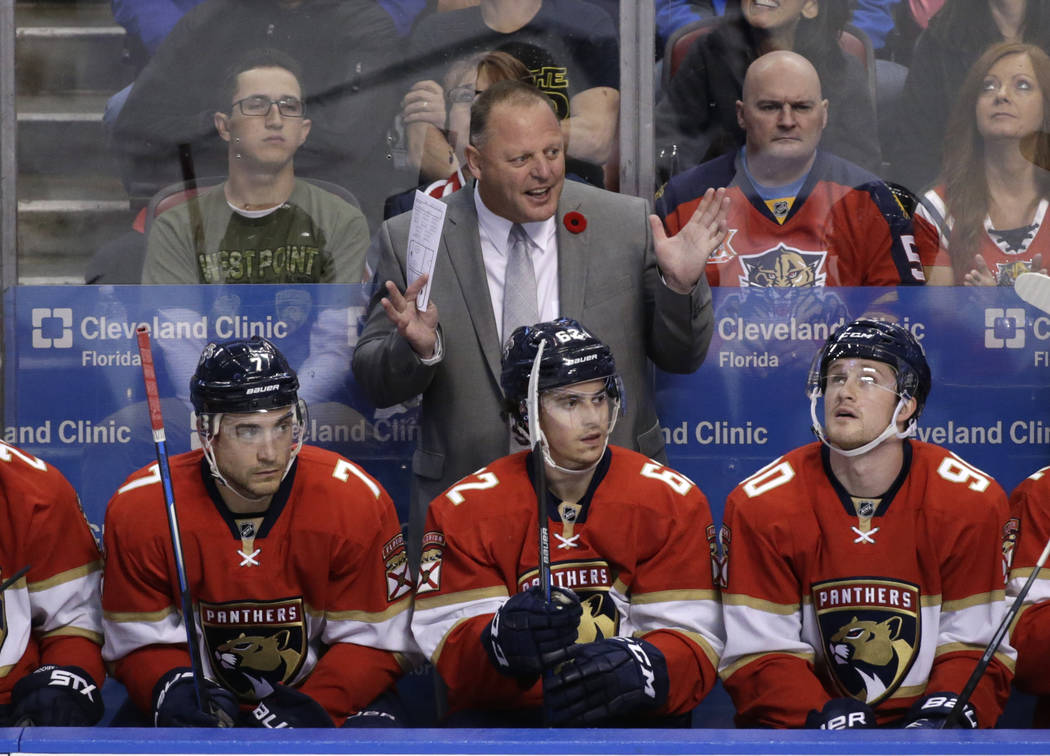 Florida Panthers head coach Gerard Gallant gestures during the second period of an NHL hockey game against the Tampa Bay Lightning, Monday, Nov. 7, 2016, in Sunrise, Fla. (AP Photo/Wilfredo Lee)
