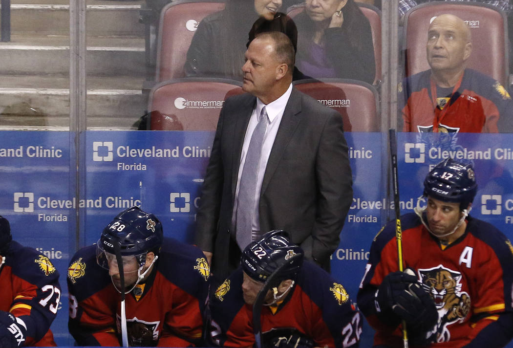 Florida Panthers head coach Gerard Gallant looks on in the third-period of his team's 3-1 loss to the Anaheim Ducks in an NHL hockey game Thursday, Nov. 19, 2015, in Sunrise, Fla. (AP Photo/Joe Sk ...