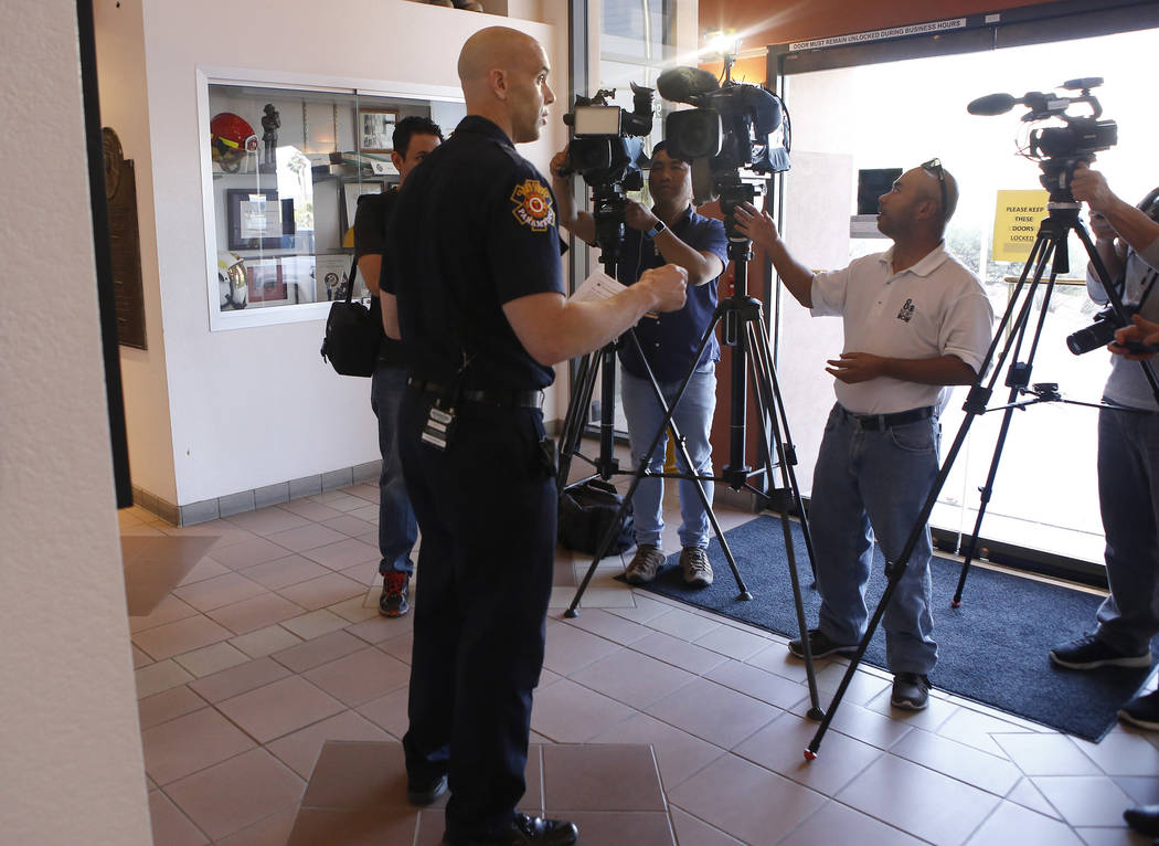 Deputy Fire Chief Jeff Buchanan informs the public of bee safety at the Clark County Fire Department on Thursday, April 13, 2017, in Las Vegas. Christian K. Lee Las Vegas Review-Journal @chrisklee ...
