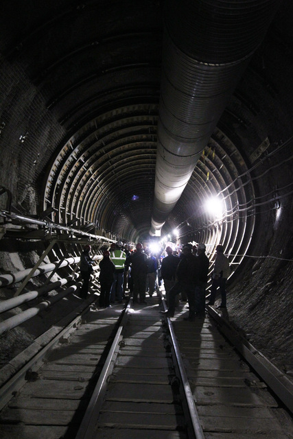 Congressmen, staff, journalists and Department of Energy employees gather during a congressional tour of the Yucca Mountain exploratory tunnel Thursday, April 9, 2015. (Sam Morris/Las Vegas Review ...