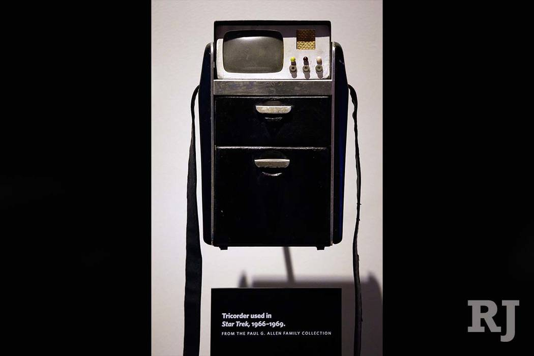 "A tricorder prop from the original ""Star Trek"" is displayed as part of a 50th anniversary celebration of the ""Star Trek"" franchise at the EMP Museum, in Seattle. (Elaine Thompson/AP)"
