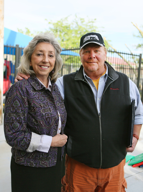 Congresswoman Dina Titus and celebrity Chef Mario Batali attend a grand opening ceremony for the new Books for Kids Library at Acelero Spring Valley Learning Center on Tuesday, March 29, 2016, in  ...