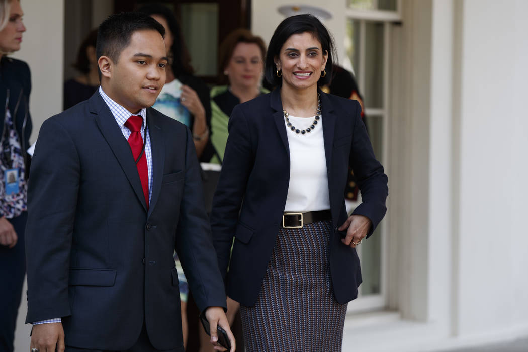 Seema Verma, administrator of the Centers for Medicare and Medicaid Services, walks to speak with reporters outside the White House in Washington, Thursday, April 13, 2017, after President Donald  ...