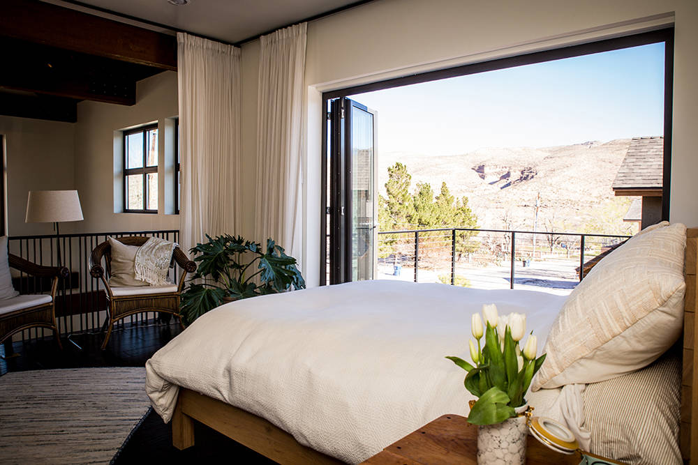 The master bedroom has a view of the desert mountains. (Tonya Harvey)