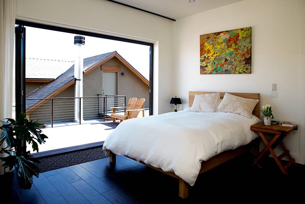 The master bedroom has a patio. (Tonya Harvey)