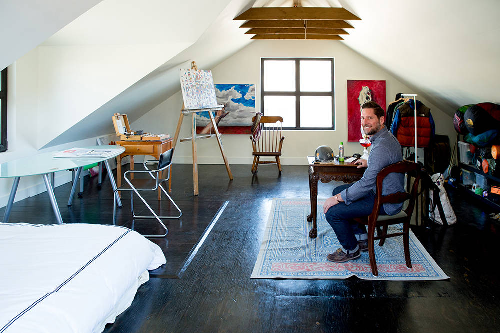 A space garage is used as a painting studio. (Tonya Harvey)
