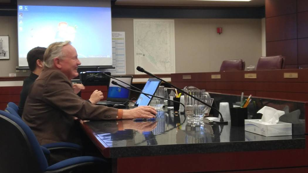 Sen. Don Gustavson, R-Sparks, talks to the Senate Judiciary Committee on Friday about Senate Bill 358, which would change the civil forfeiture system used by police. (Ben Botkin/Las Vegas Review-J ...