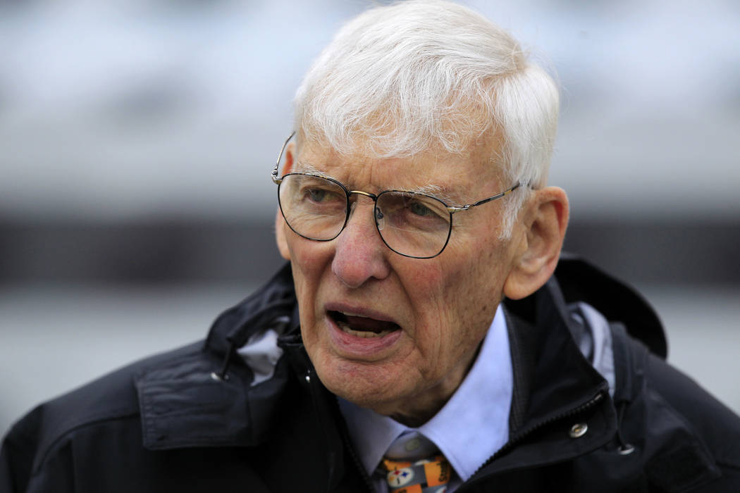 In this Oct. 7, 2012, file photo Dan Rooney watches warm ups before an NFL football game between the Pittsburgh Steelers and Philadelphia Eagles in Pittsburgh. The Steelers announced Mr. Rooney di ...