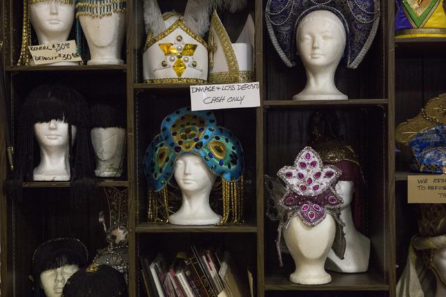 Headpieces line the shelfs at Williams Costume on Thursday, Feb. 16, 2017, in Las Vegas. (Bridget Bennett/View) @bridgetkbennett