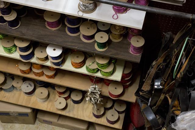 Spools of sequins are stored on shelves at Williams Costume on Thursday, Feb. 16, 2017, in Las Vegas. (Bridget Bennett/View) @bridgetkbennett
