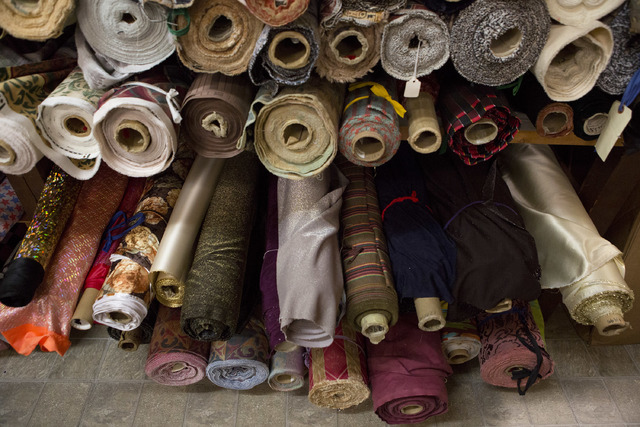 Rolls of fabrics fill the shelves at Williams Costume on Thursday, Feb. 16, 2017, in Las Vegas. (Bridget Bennett/View) @bridgetkbennett