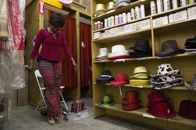 Customer Tinia Bradshaw tries on a pair of tap shoes at Williams Costume on Thursday, Feb. 16, 2017, in Las Vegas. (Bridget Bennett/View) @bridgetkbennett