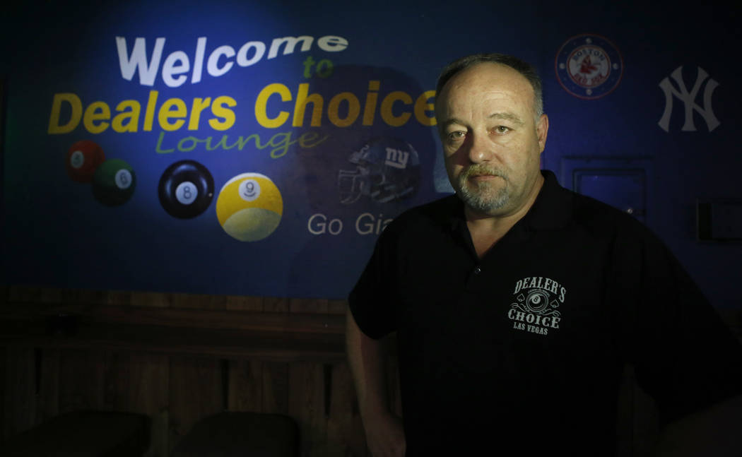 "Thomas Langrieger, 51, at Dealer's Choice Lounge on Friday, April 14, 2017, in Las Vegas. The Lounge will be closing after nearly 30 years in business. ""Places like ours are falling to Corporate A ..."