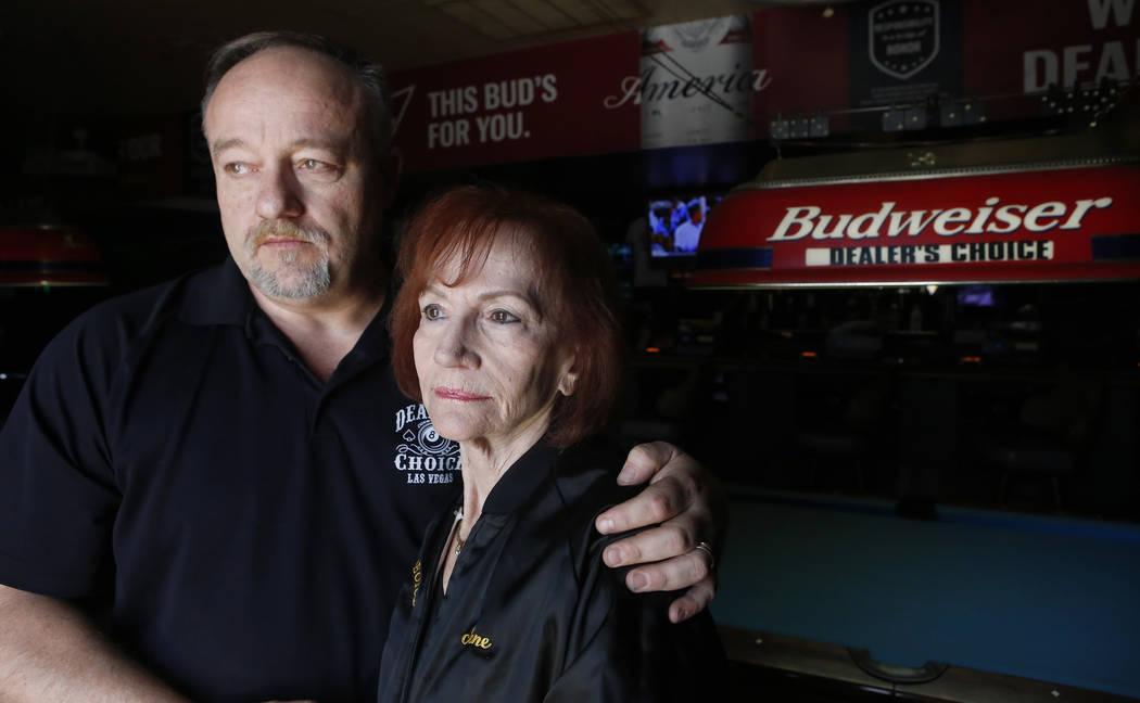 "Thomas Langrieger, 51, from left, and Irene Macieski at Dealer's Choice Lounge on Friday, April 14, 2017, in Las Vegas. ""I did nothing but hard work here for 30 plus years,"" Macieski said. Christi ..."