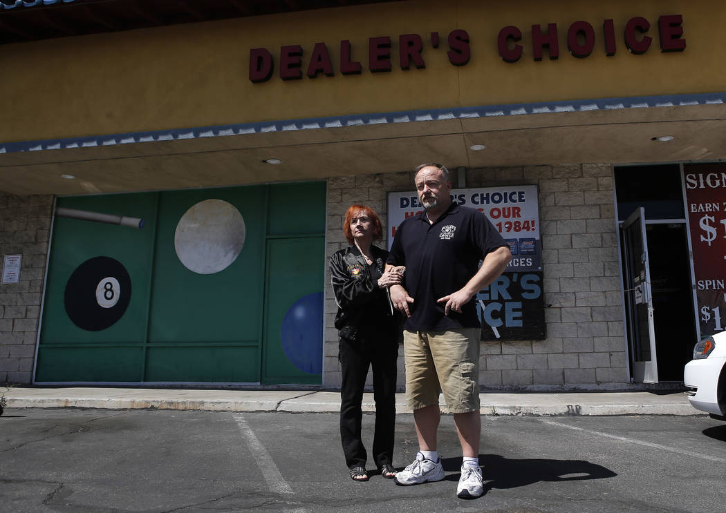 "Irene Macieski and Thomas Langrieger, 51, at Dealer's Choice Lounge on Friday, April 14, 2017, in Las Vegas. ""I did nothing but hard work here for 30 plus years,"" Macieki said. C ..."