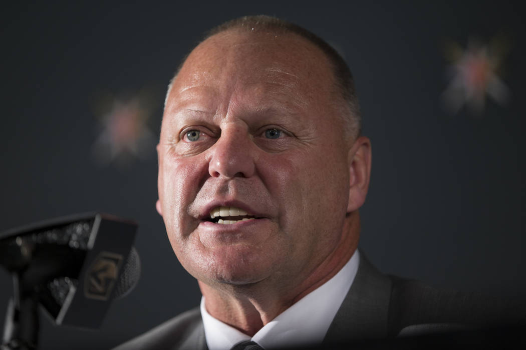 Vegas Golden Knights head coach Gerard Gallant during a press conference announcing his new job at T-Mobile Arena on Thursday, April 13, 2017, in Las Vegas. (Erik Verduzco Las Vegas Review-Journal ...