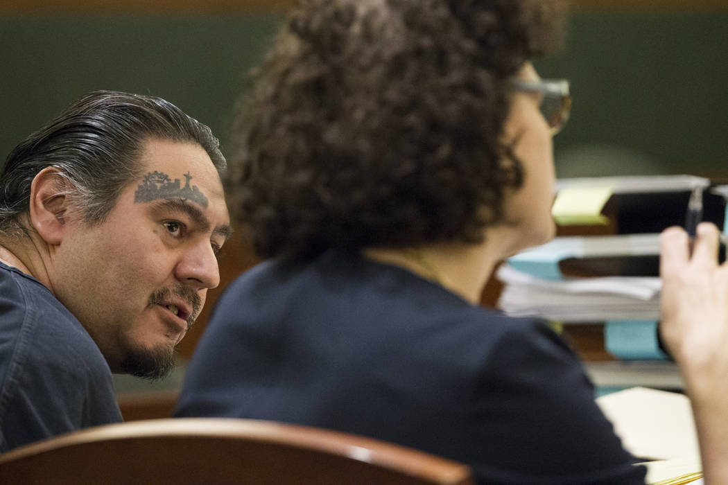 Raymond Padilla, left, charged in the April 2016 killing of construction site security guard Mark Santee, with his defense attorney Monique Mcneill in court for his preliminary hearing at the Regi ...