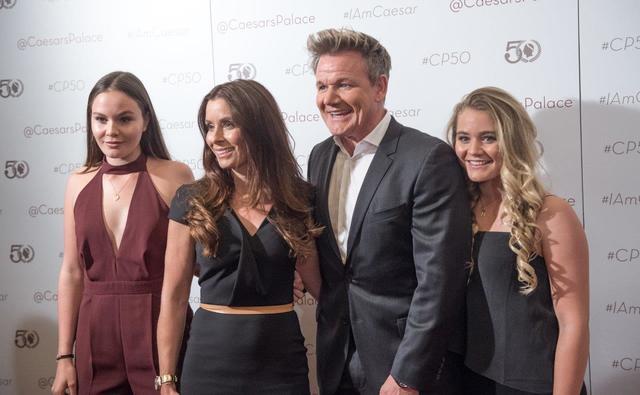 Holly Ramsay, Tana Ramsay, Gordon Ramsay and Matilda Ramsay arrive at Caesars Palace's 50th anniversary celebration Saturday, Aug. 6, 2016, in Las Vegas. (Tom Donoghue)