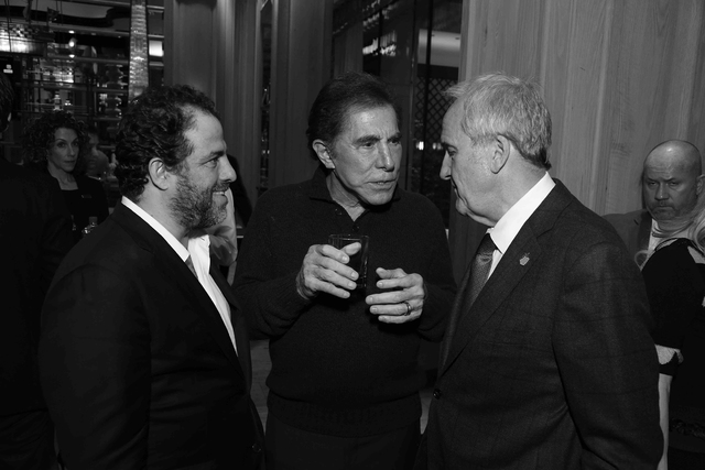 Brett Ratner, at left with Steve Wynn and Larry Ruvo, hosts a tasting reception for his whiskey, Hilhaven Lodge, at Sinatra at Wynn's Encore on Tuesday, Feb. 7, 2017, in Las Vegas. (Alex J. Berlin ...