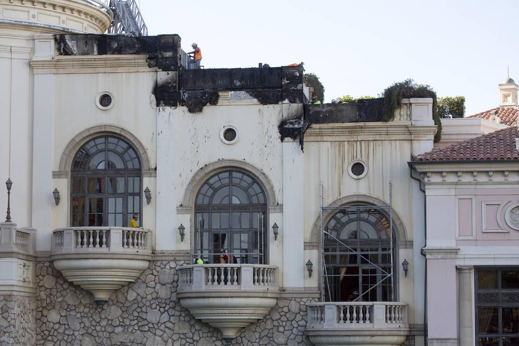 Damage from a roof fire the night prior as seen on Friday, April 14, 2017, at Bellagio hotel-casino in Las Vegas. (Bridget Bennett/Las Vegas Review-Journal) @bridgetkbennett