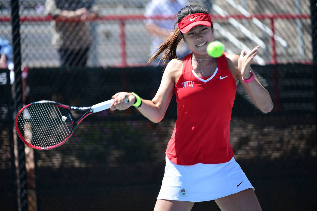 UNLV sophomore Aiwen Zhu returns a shot Sunday in the Mountain West championship final. She teamed with En-Pei Huang for a doubles victory in the Rebels' 4-0 loss to San Jose State. (Justin Tafoya ...