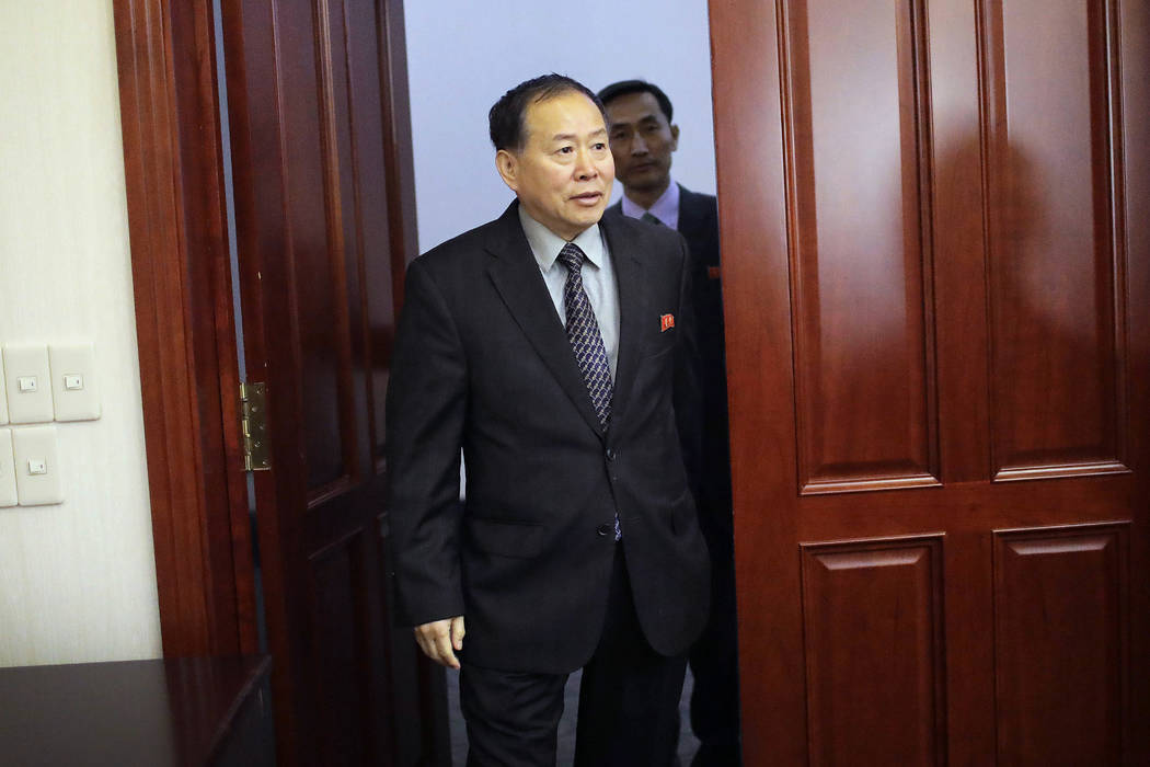 Han Song Ryol, North Korea's vice minister of foreign affairs, arrives for an interview with The Associated Press on Friday, April 14, 2017, in Pyongyang, North Korea. Han Song Ryol said the situa ...