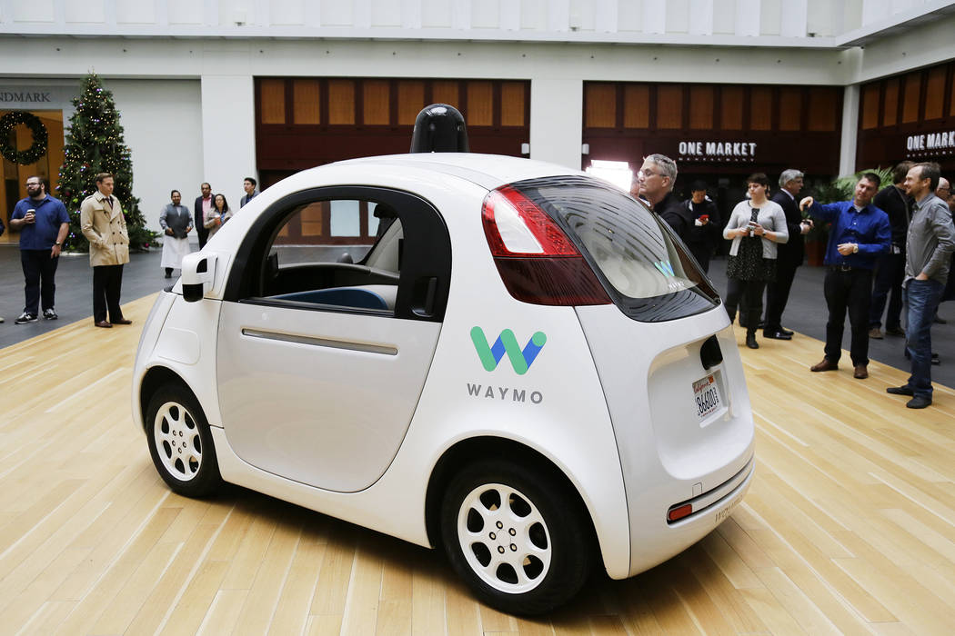The Waymo driverless car is displayed during a Google event, Tuesday, Dec. 13, 2016, in San Francisco. (Eric Risberg/AP)
