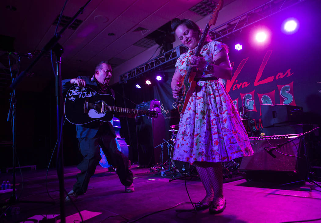 Jittery Jack and Miss Amy Griffin perform during the Viva Las Vegas Rockabilly Weekend at The Orleans hotel-casino in Las Vegas on Thursday, April 13, 2017. Chase Stevens Las Vegas Review-Journal  ...