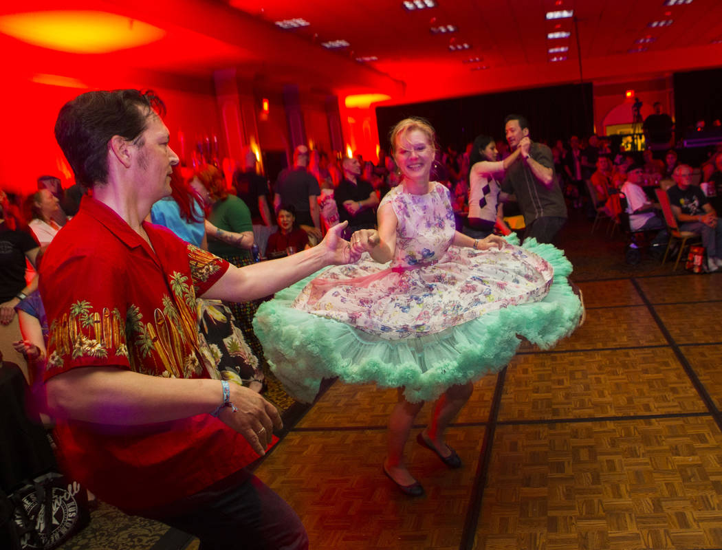 Christian and Petra of Germany dance during the Viva Las Vegas Rockabilly Weekend at The Orleans hotel-casino in Las Vegas on Thursday, April 13, 2017. Chase Stevens Las Vegas Review-Journal @csst ...