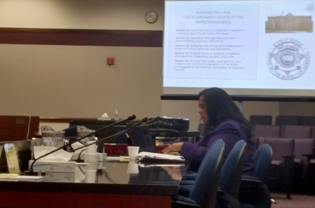 Assemblywoman Brittney Miller, D-Las Vegas, talks to the Assembly Government Affairs Committee Wednesday about Assembly Bill 404. (Ben Botkin Las Vegas Review-Journal)