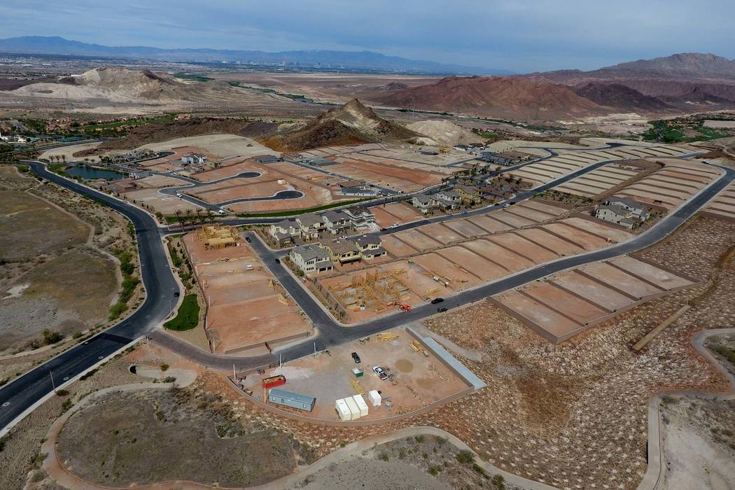 Aerial view of housing construction sites at The Peaks, a new development at Lake Las Vegas, that overlook the Las Vegas valley on Monday, April 17, 2017. Michael Quine/Las Vegas Review-Journal @V ...