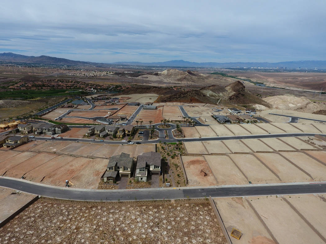 Aerial view of home construction sites at The Peaks, a new development at Lake Las Vegas that overlooks the Las Vegas Valley, on Monday, April 17, 2017. Michael Quine Las Vegas Review-Journal @Veg ...