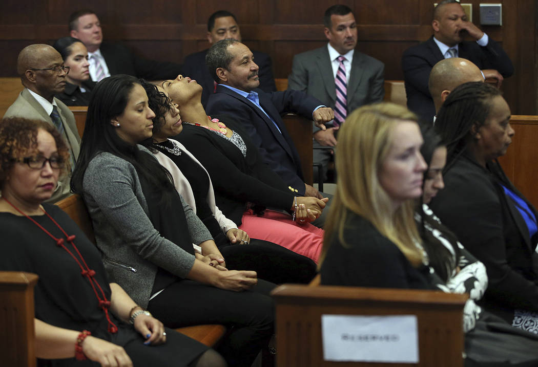 Family and friends of the victims react when court is adjourned without a verdict on day five of jury deliberations in the double murder trial of former New England Patriots tight end Aaron Hernan ...