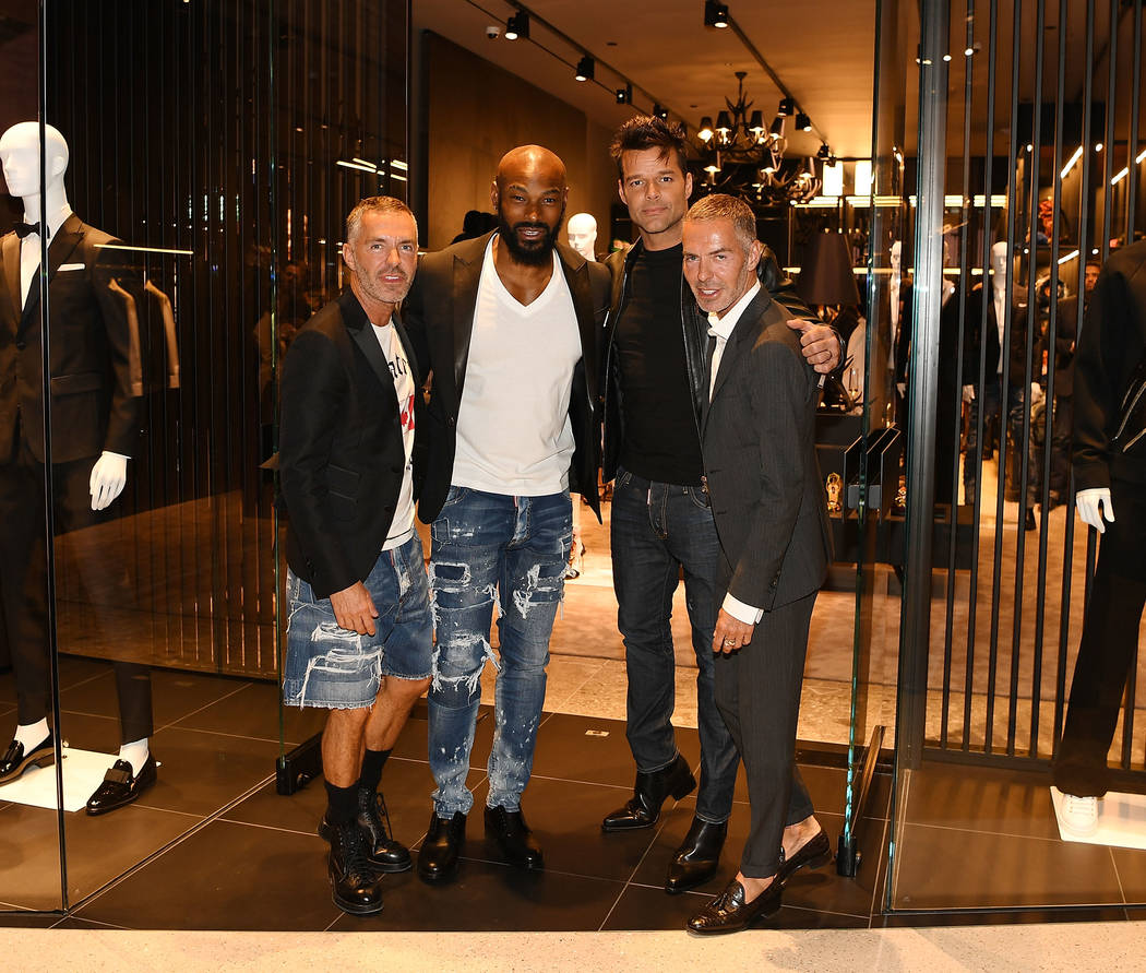 Dan Caten, Tyson Beckford, Ricky Martin and Dean Caten attend the grand opening party for the Catens' Dsquared2 Store at Crystals at CityCenter on Thursday, April 6, 2017, in Las Vegas. (Denise Tr ...