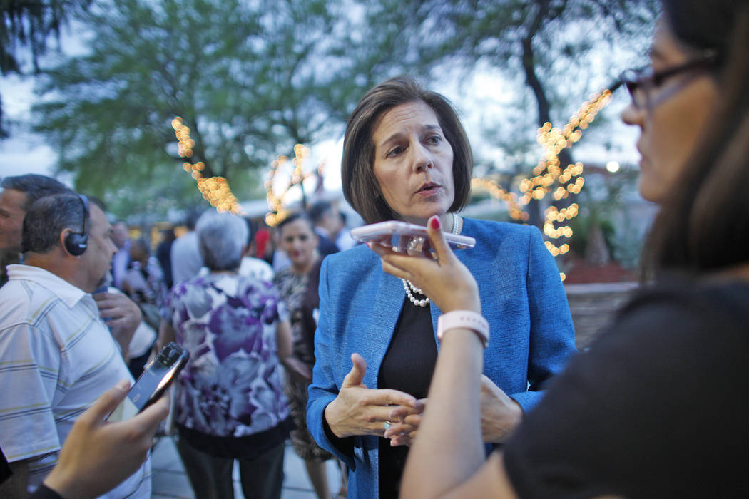 U.S. Senator Catherine Cortez Masto, D-Nev., addresses reporters after an immigration forum hosted by the Nevadans for the Common Good on Monday, April 17, 2017, at the All Saints Episcopal Church ...
