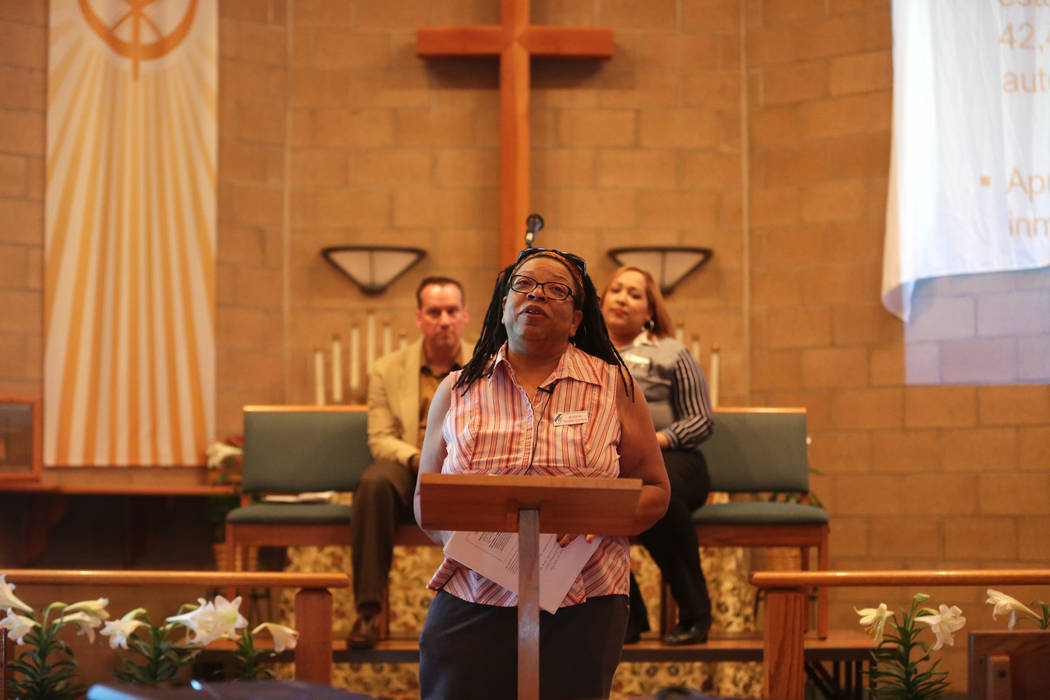 Jeanne Ward-Estes talks about the current status of immigration in America at an immigration forum hosted by the Nevadans for the Common Good on Monday, April 17, 2017, at the All Saints Episcopal ...