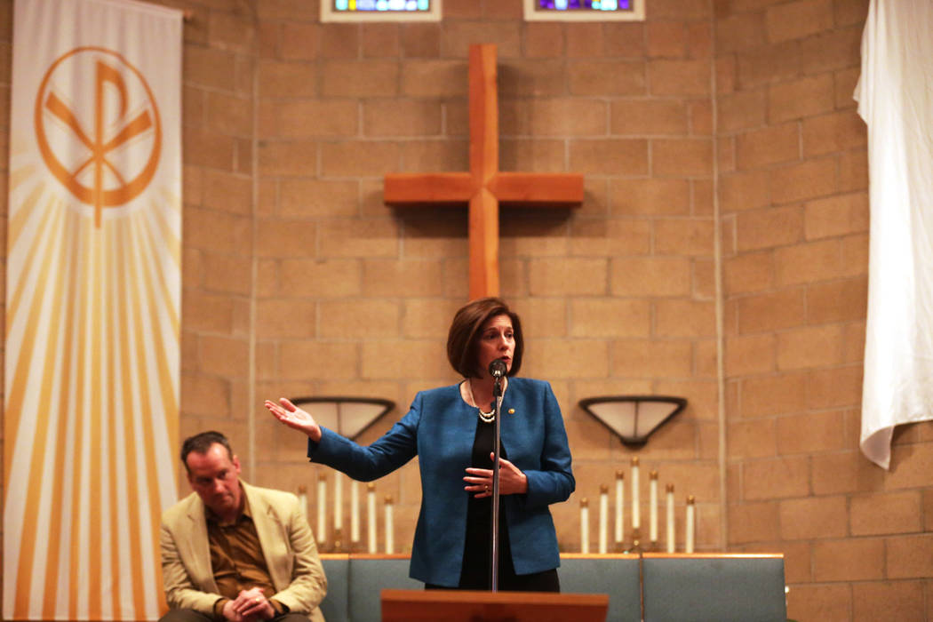U.S. Senator Catherine Cortez Masto, D-Nev., discusses the current legislative status of immigration at an immigration forum hosted by the Nevadans for the Common Good on Monday, April 17, 2017, a ...
