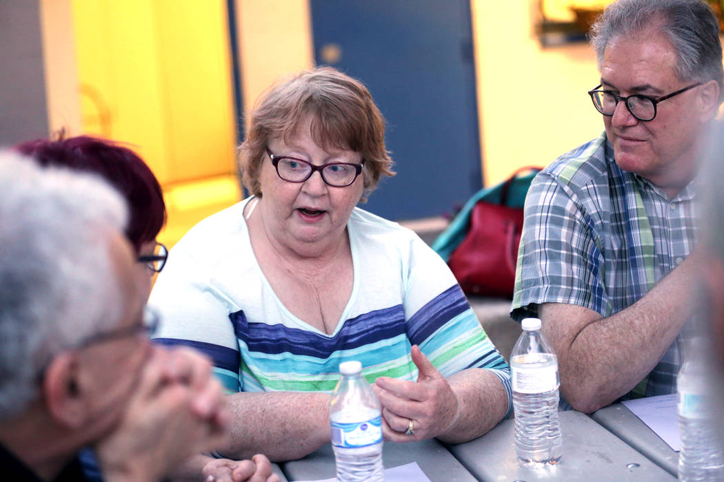 Pam Martin talks about a personal immigration story to a group after an immigration forum hosted by the Nevadans for the Common Good on Monday, April 17, 2017, at the All Saints Episcopal Church i ...