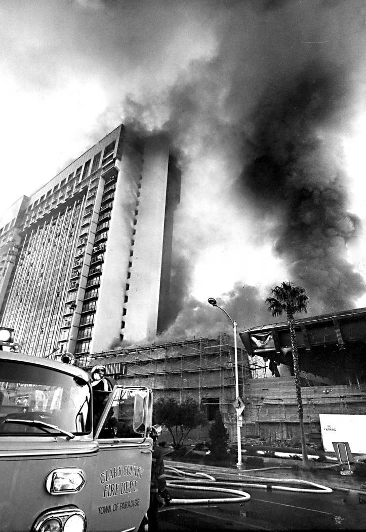 Fire raged through the MGM Grand Hotel on Friday November 21, 1980. The 26 story resort quickly filled with smoke as the fire spread, forcing trapped guests to await rescue from exterior balconies ...