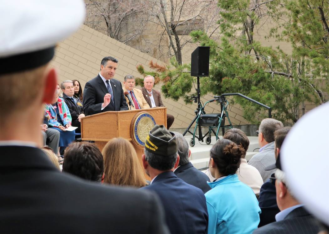 Gov. Brian Sandoval emphasizes his commitment to make Nevada the most veteran friendly states in the nation during a speech kicking off 2017 Veterans and Military Day at the Legislature, Wednesday ...
