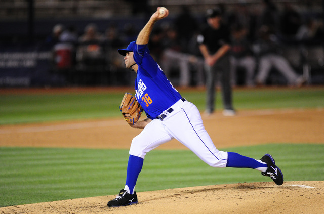 Las Vegas 51s starting pitcher Sean Gilmartin delivers to the Nashville Sounds in the 5th inning of their minor league baseball game at Cashman Field in Las Vegas Tuesday, May 24, 2016. (Josh Holm ...