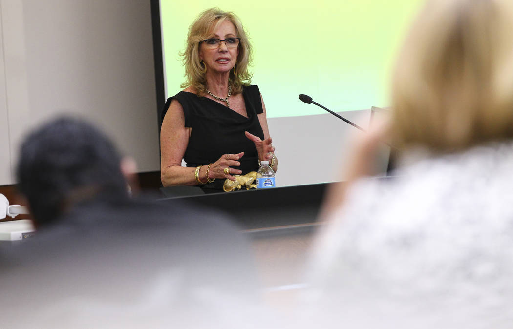 Former Las Vegas Mayor and Caesars Entertainment executive Jan Jones Blackhurst speaks during the annual Robert D. Faiss Lecture on gaming law and policy at the Thomas & Mack Moot Court at UNL ...