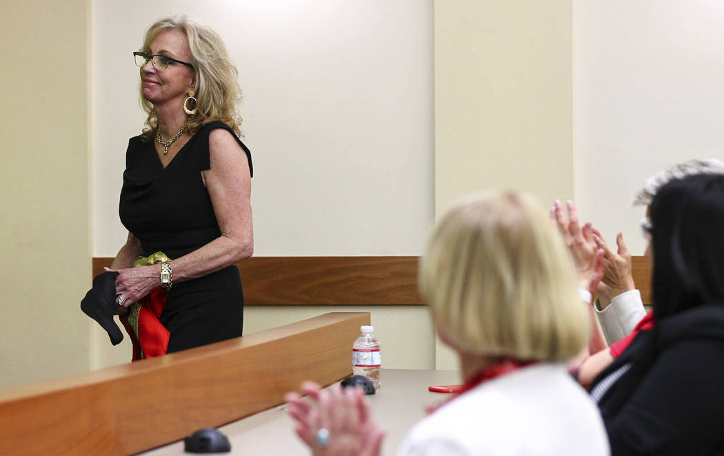 Former Las Vegas Mayor and Caesars Entertainment executive Jan Jones Blackhurst is introduced during the annual Robert D. Faiss Lecture on gaming law and policy at the Thomas & Mack Moot Court ...