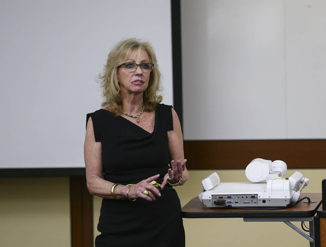 Former Las Vegas Mayor and Caesars Entertainment executive Jan Jones Blackhurst responds to a question during the annual Robert D. Faiss Lecture on gaming law and policy at the Thomas & Mack M ...