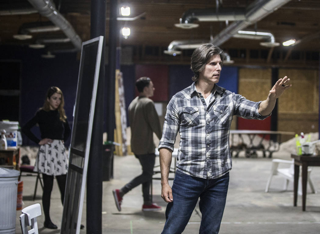 """Director Daniel Kucan, right, leads rehearsal for the comedy """"The Realistic Joneses"""" at A Public Fit Theater Company on Thursday, April 13, 2017, in Las Vegas.  Benjamin Hager La ..."""