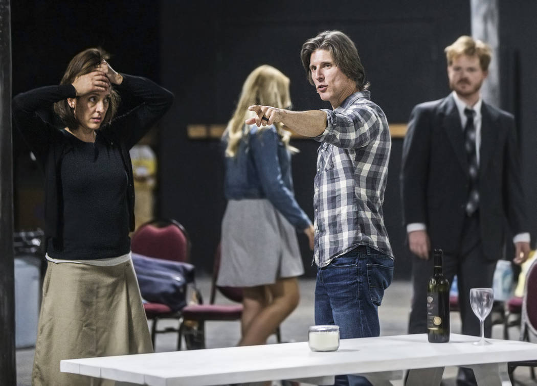 """Director Daniel Kucan, second from left, gives feedback to actress Tina Rici during rehearsal for the comedy """"The Realistic Joneses"""" at A Public Fit Theater Company on Thursday,  ..."""