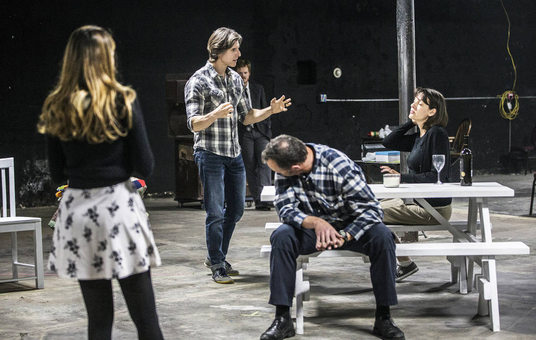 """Director Daniel Kucan, second from left, gives feedback to Tina Rici during rehearsal for the comedy """"The Realistic Joneses"""" at A Public Fit Theater Company on Thursday, April 13 ..."""