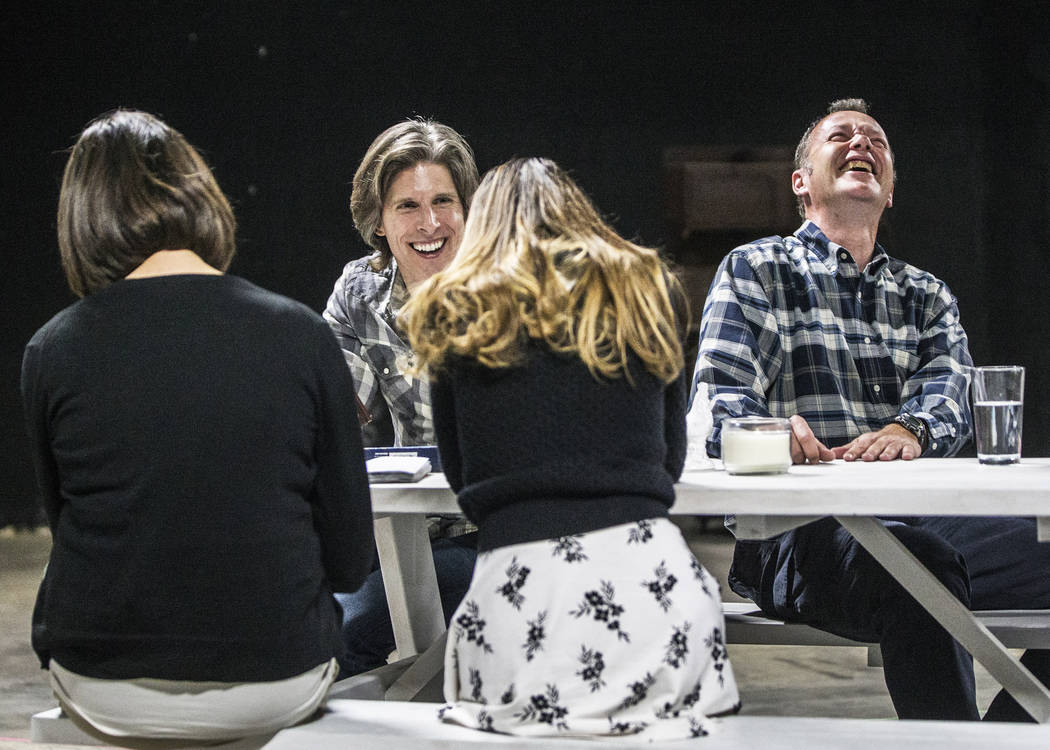 """Director Daniel Kucan, left, and actor Timothy Cummings share a laugh during rehearsal for the comedy """"The Realistic Joneses"""" at A Public Fit Theater Company on Thursday, April 1 ..."""