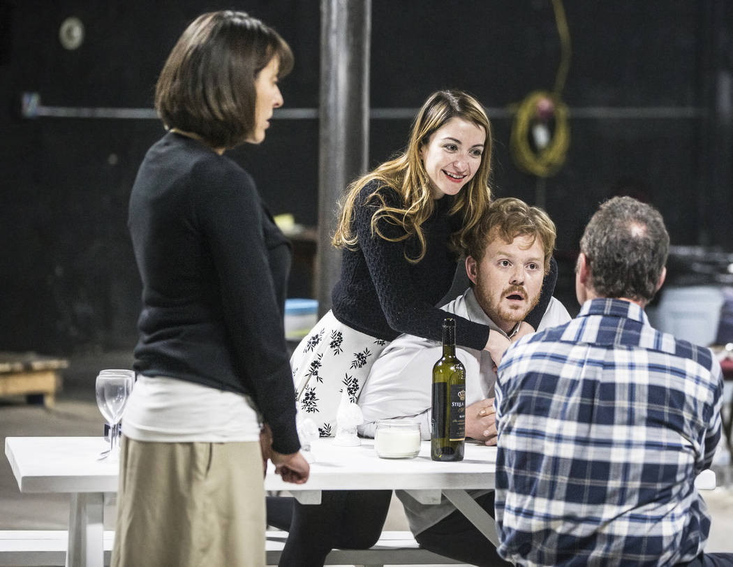 """Actors Tina Rici, left, Rebecca Reyes, Mike Rasmussen and Timothy Cummings work through a scene during rehearsal for the comedy """"The Realistic Joneses"""" at A Public Fit Theater Co ..."""